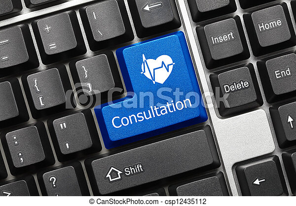 Conceptual keyboard - Consultation (blue key with heart symbol) - csp12435112