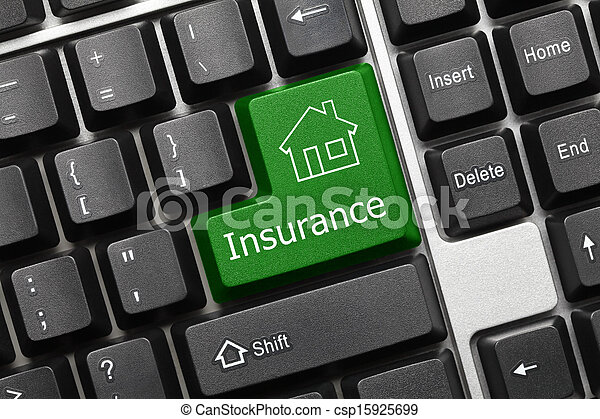 Conceptual keyboard - Insurance (green key with house icon) - csp15925699