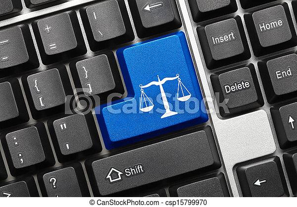 Conceptual keyboard - Law symbol (blue key) - csp15799970
