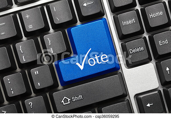 Conceptual Keyboard Vote Blue Key With Check Symbol Close Up