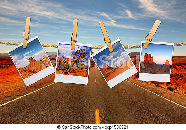 Conceptual Montage Representing Vacation Travel With Polaroid Photos of Moument Valley Desert Hanging on a Rope  - csp4586321