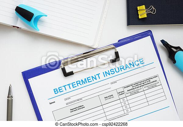 Conceptual photo about BETTERMENT INSURANCE with handwritten text. - csp92422268