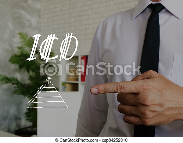 Conceptual photo about ICO with handwritten text. - csp84252310
