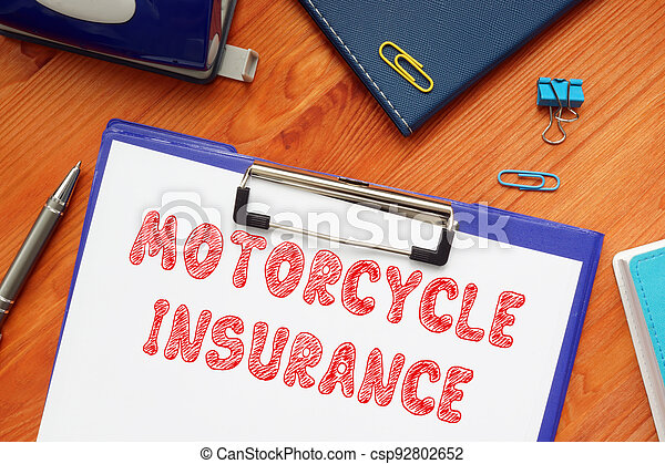 Conceptual photo about MOTORCYCLE INSURANCE with handwritten text. - csp92802652