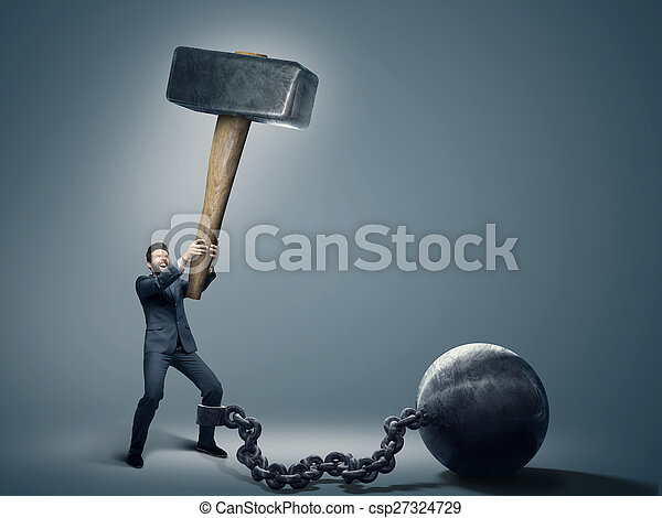 Conceptual photo of an employee trying to quit a job - csp27324729
