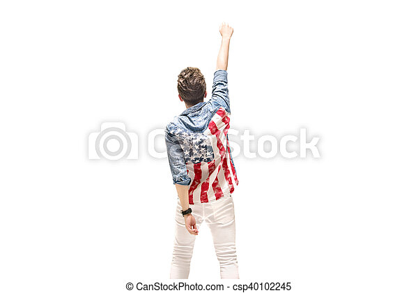 Conceptual portrait of a patriotic man - csp40102245