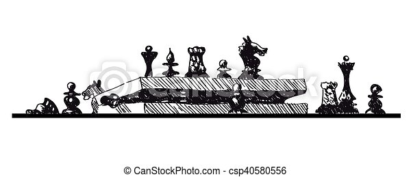 Conceptual sketch illustration with chess pieces and box on white background - csp40580556