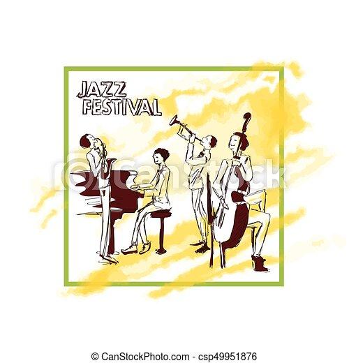 concert., プレーする, イラスト, ポスター, 抽象的, ジャズ, 隔離された, 黄色, 水彩画, バンド, ベクトル, バックグラウンド。, 背景, 白, stain. - csp49951876