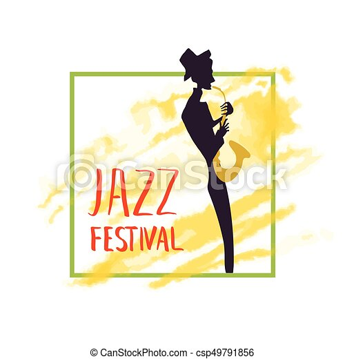 concert., 音楽家, プレーする, 祝祭, ポスター, ジャズ, 黄色, 水彩画, バックグラウンド。, saxophone., 音楽, しみ, ∥あるいは∥ - csp49791856