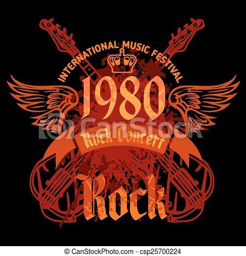 concert, affiche, rocher, -, vecteur, 1980s., illustration. - csp25700224