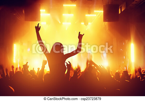 Concert, disco party. People having fun in night club - csp23723879