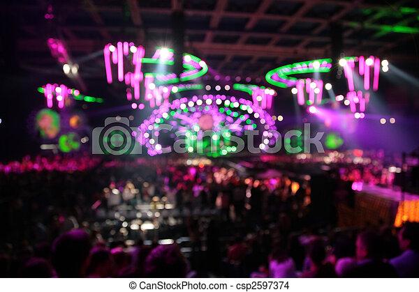 concert., grande, abstratos, luzes, defocused, nightclub. - csp2597374