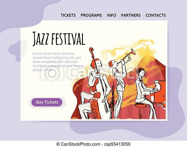 concert., poster., 祝祭, ジャズ, ヘッダー, 四つ組, サイト, ベクトル, 音楽, テンプレート, デザイン, 旗, ∥あるいは∥, illutration - csp55413059
