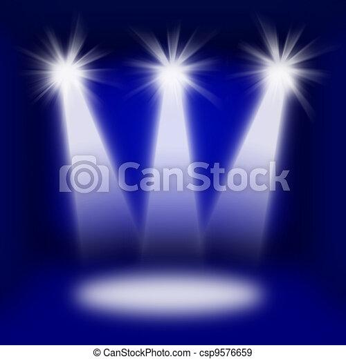Concert Stage Lights In Dark Interior