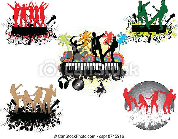 Concert under the palm-grunge background  - csp18745916