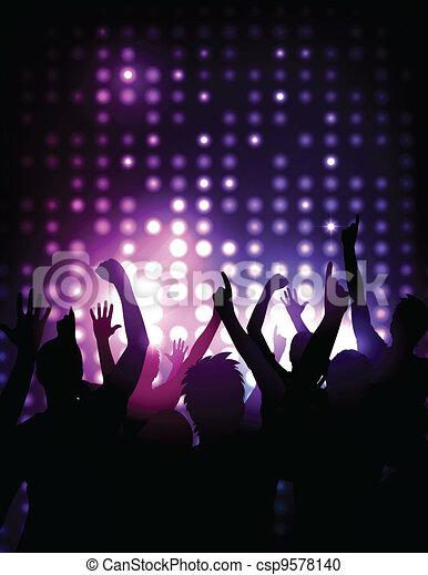 concerto, folla, -, applauso, vettore, fondo - csp9578140