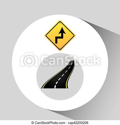 concetto, asfalto, curve, segno, grafico, strada - csp42200206