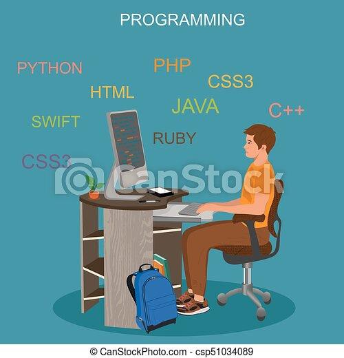 concetto, codificazione, vettore, programmazione, illustrazione - csp51034089