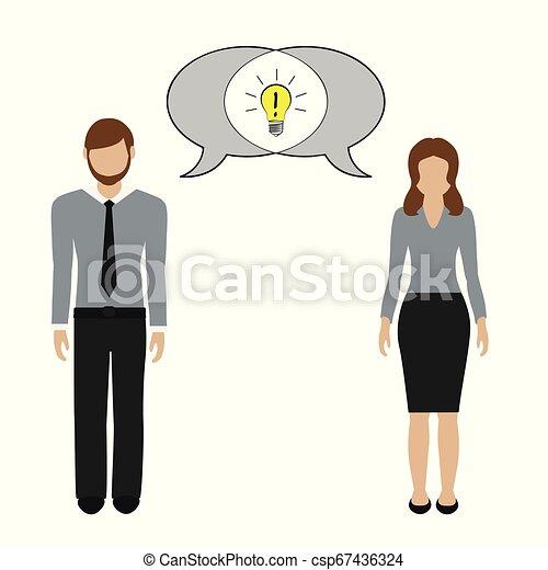 concetto, comunicazione, idea, donna, possedere, uomo - csp67436324