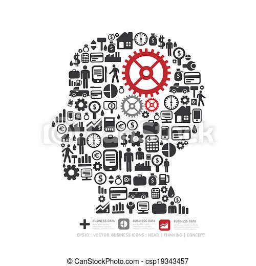 concetto, finanza, icone, fare, elementi, piccolo, illustration., uomo, .vector, pensare, ingranaggio - csp19343457