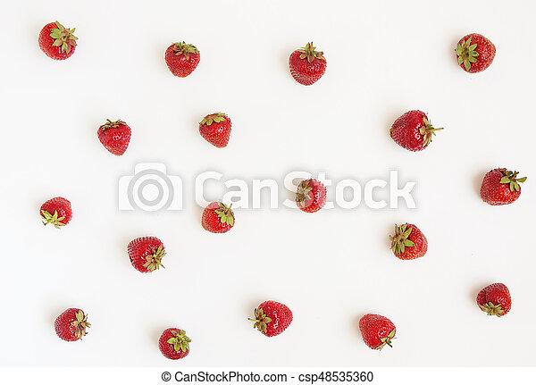concetto, h, sparso, fondo., fragole, fresco, bianco - csp48535360