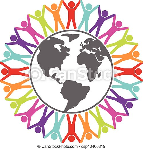 concetto, intorno, colorito, persone, viaggiare, pace, illustrazione, vettore, o, mondo - csp40400319