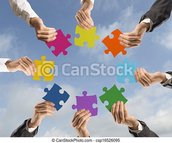 concetto, lavoro squadra, integrazione - csp16526095