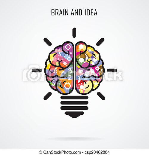 concetto, luce, idea, creativo, cervello, concetto, bulbo - csp20462884