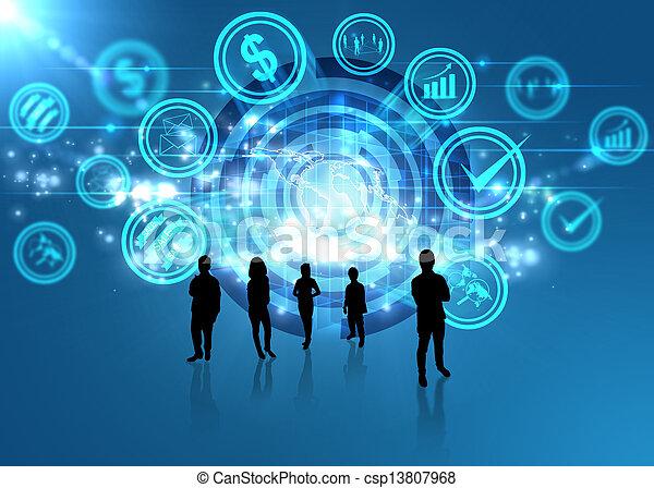 concetto, media, digitale, sociale, mondo - csp13807968