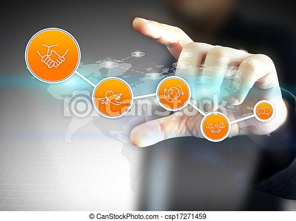 concetto, media, titolo portafoglio mano, sociale, rete - csp17271459