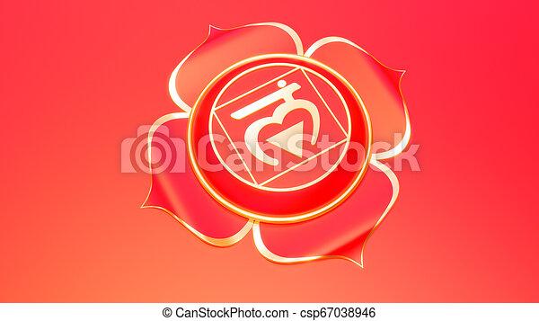 concetto, muladhara, ayurveda., simbolo, buddismo, illustrazione, trust., induismo, fondamentale, chakra, radice, rosso, 3d - csp67038946