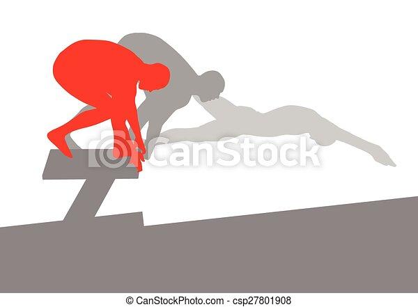 concetto, nuotatore, salto, vettore, fondo, posizione, blocco di partenza - csp27801908