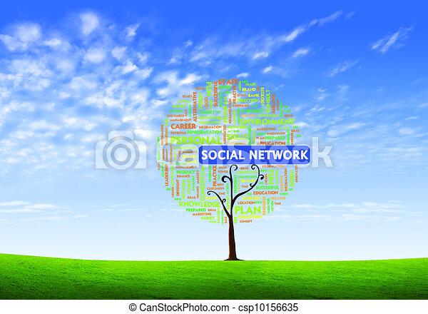 concetto, parola, forma, affari, albero, isolato, fondo, sociale, nube bianca, rete - csp10156635