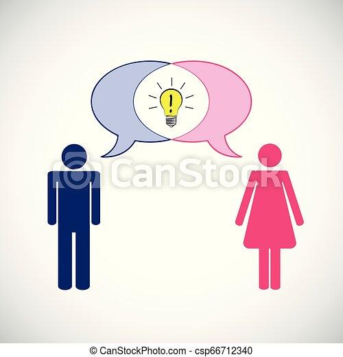 concetto, pictogram, comunicazione, idea, donna, possedere, uomo - csp66712340