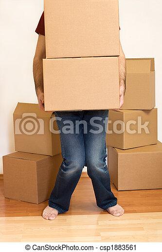 concetto, -, scatole, spostamento, lotta, cartone, uomo - csp1883561