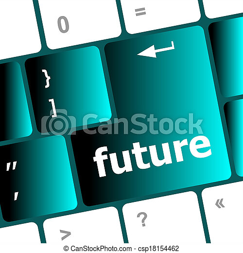 concetto, tastiera computer, futuro, chiave, tempo - csp18154462