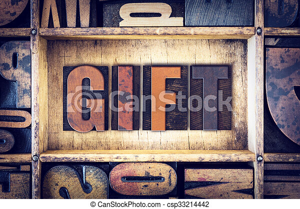 concetto, tipo, regalo, letterpress - csp33214442
