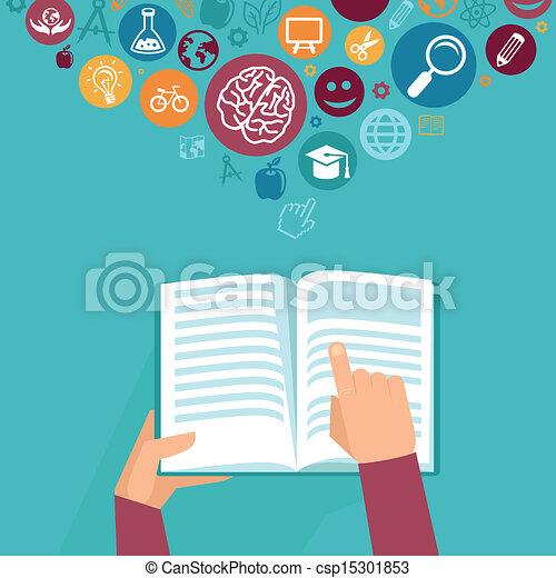 concetto, -, vettore, tenere mani, educazione, libro - csp15301853