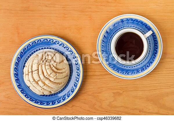 concha, café, mexicano, copo, pão doce - csp46339682