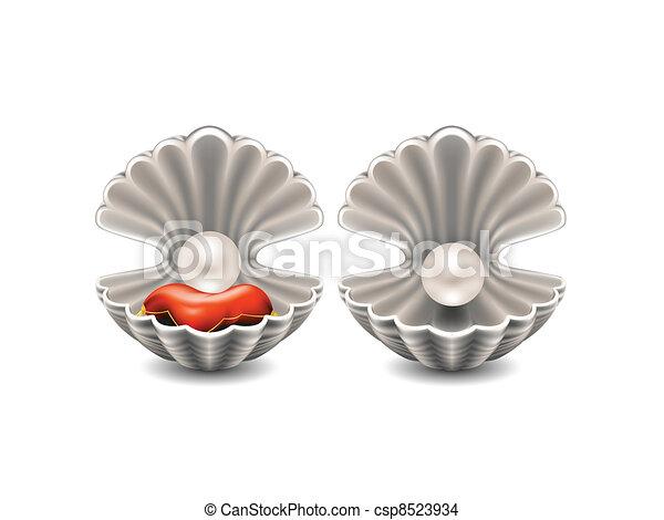 Abre conchas marinas con perlas - csp8523934