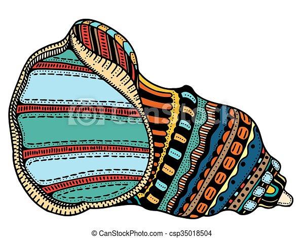 Arte de la línea de conchas marinas - csp35018504