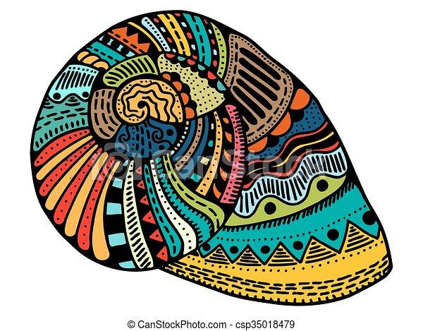 Arte de la línea de conchas marinas - csp35018479