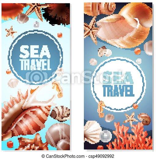 Pancartas de concha marina puestas - csp49092992