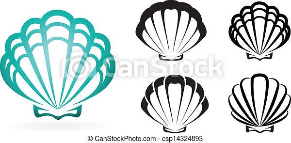 conchiglia, silhouette, -, collezione, vettore, illustrazione - csp14324893