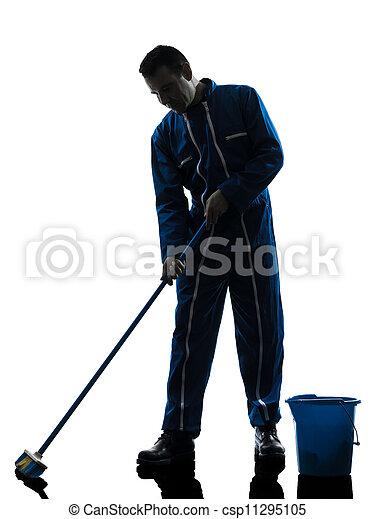 concierge, nettoyeur, silhouette, nettoyage, homme - csp11295105