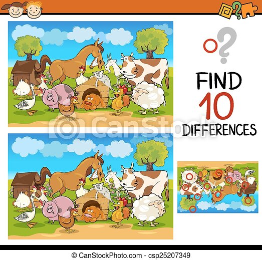 conclusion, jeu, différences, dessin animé - csp25207349