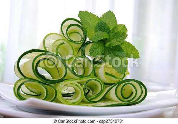 concombre, menthe, ruban, salade - csp27540731