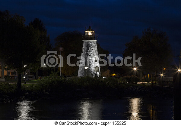 Concord Point Lighthouse at night - csp41155325