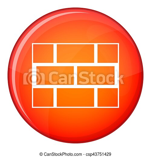 Concrete block wall icon, flat style - csp43751429
