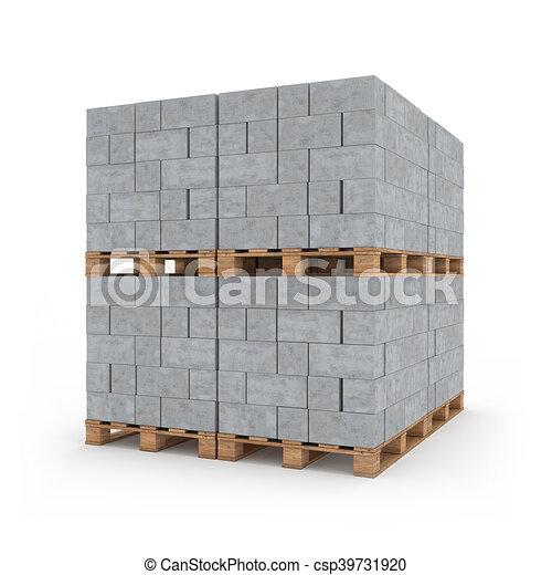 Concrete blocks on wooden pallets 3d rendering